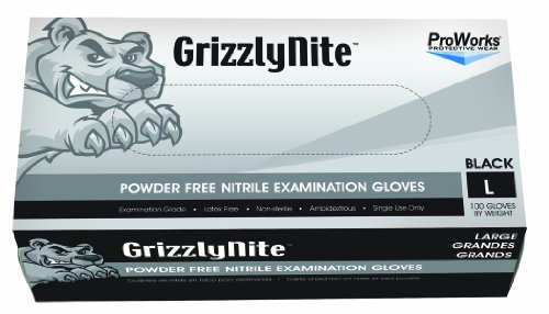 (Hospeco ProWorks GrizzlyNite GL-N105FM Exam Grade Nitrile Glove, Powder Free, Disposable, 9.5