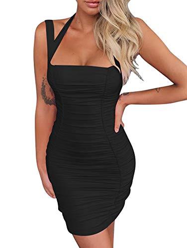 Mini Square Neck - BEAGIMEG Women's Sexy Halter Tank Top Ruches Sleeveless Bodycon Party Mini Dress Black