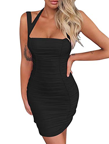 BEAGIMEG Women's Sexy Halter Tank Top Ruches Sleeveless Bodycon Party Mini Dress Black