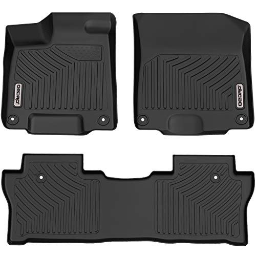 oEdRo Floor Mats Compatible for 2016-2020 Honda Pilot, Unique Black TPE All-Weather Guard Includes 1st and 2nd Row: Front, Rear, Full Set Liners (Husky Liner Honda Pilot)