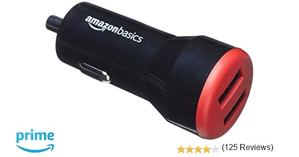 AmazonBasics - Cargador de coche, de 4,8 A / 24 W, 2 puertos ...