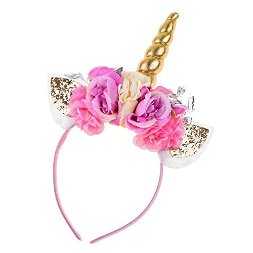 Floral Fall Unicorn Horn Headband Ears Photo Props Girl Birthday Outfit Squishy Cheeks DJ-01 (Gold leaf Flower)]()