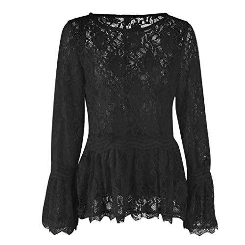 URIBAKE Womens Long Sleeve Lace Fashion O-Neck Bllouse T-Shirt Ladies' Blouse Tank Tops Solid Color ()
