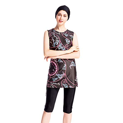 Muslim Women's Vintage Print Embroidered Casual Swimsuit + Pants + Hat Three-Piece Middle East to YFUNNY Beachwear Black