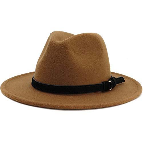 Lisianthus Men & Women Vintage Fedora - Wide Brim Panama Hat Khaki 58-60cm