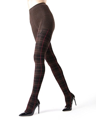 Memoi Glasgow Plaid Sweater Tights | Women's Hosiery - Pantyhose Brown Heather MF5 115 Small/Medium