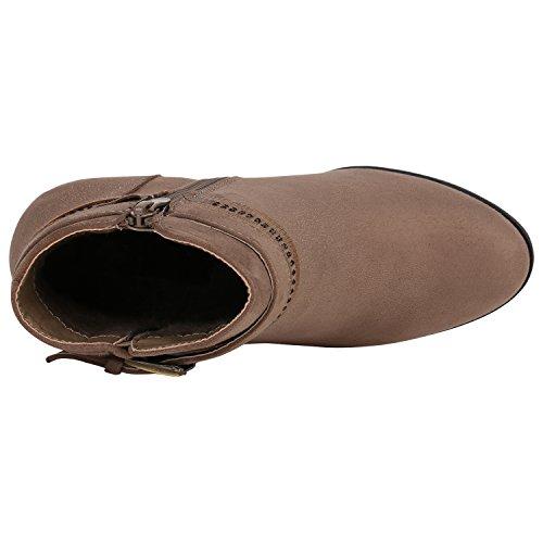 Stiefelparadies Klassische Damen Stiefeletten Lack Block Absatz Leder-Optik Flandell Khaki Strass