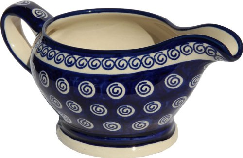 Polish Pottery Gravy Boat 16 Oz. From Zaklady Ceramiczne Boleslawiec #1258-174a Traditional Pattern, Capacity 16 Oz.