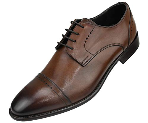 Asher Green Genuine Italian Leather Men's Dress Shoes with Perforated Cap Toe and Lace-Up Enclosure Style AG4732 Cognac