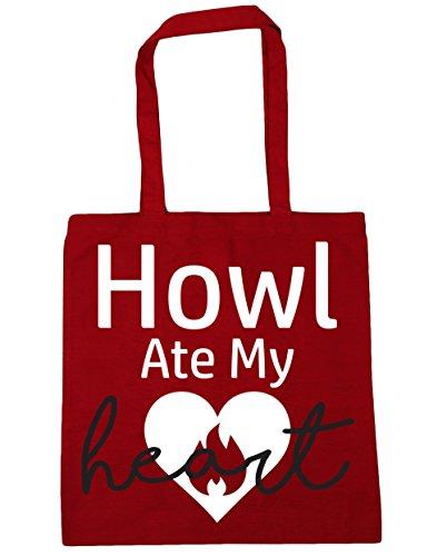 Hippowarehouse Urla Mangiato Il Mio Cuore Shopping Bag Borsa Da Palestra 42cm X38cm, 10 Litri - Classico Rosso, Taglia Unica