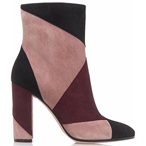 Señora Cuero señora RED Botas 34 40 de Red para de invierno otoño Botas Zapatos botas de de banquetes 7001FD impermeable trabajo alto salones tacón rrwFAqdU