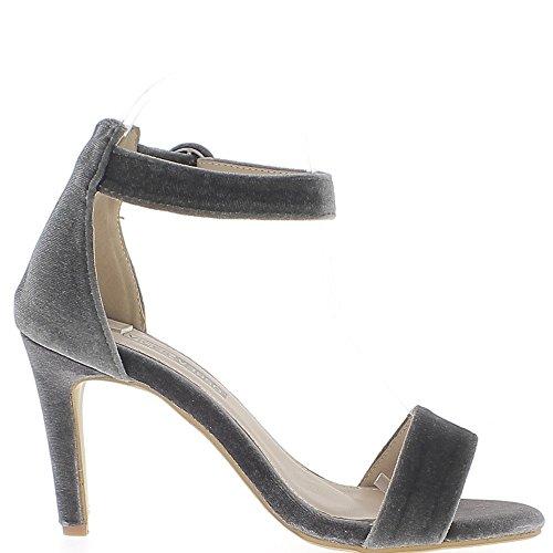 Sandales grises effet velours à talon fin de 9 cm