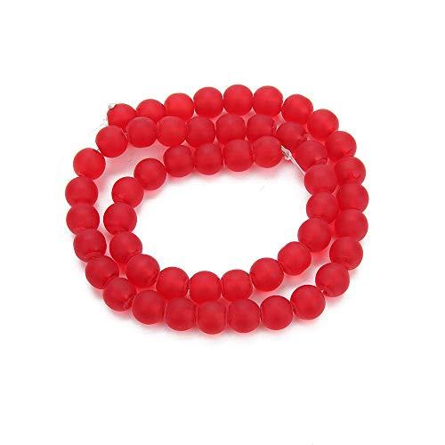 (BALIBALI Natural Dull Polish Red Quartz Gemstone Loose Beads Round 8mm Crystal Energy Stone Healing Power for Jewelry Making DIY Bracelet Necklace)