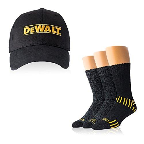 Thoughtful Shopper (DeWALT Men´s Work Socks Set: 3-Pack Everyday Men's Cotton Crew Socks + Men's Ball Cap Set)