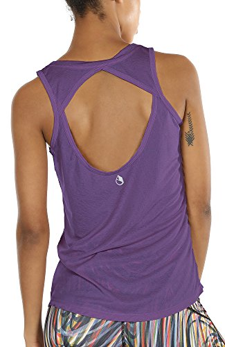 icyzone Yoga Tops Activewear Workout Clothes Open Back Fitness Racerback Tank Tops For Women(M,Purple)