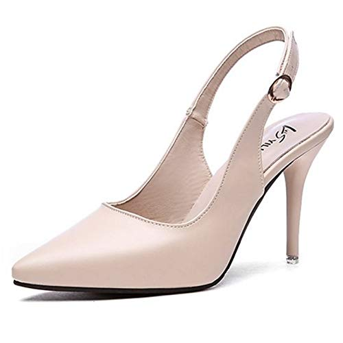 Stiletto amp; Women's Polyurethane Shoes Summer Pointed ZHZNVX Slingback Spring Black PU Almond Heel Toe Almond Heels Sz1a4qw