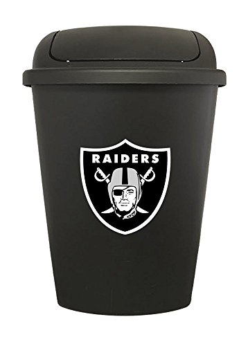 The Furniture Cove 7.5 Gallon - Black Plastic Trash Can Waste Basket Featuring Your Favorite Football Team Logo Decal -