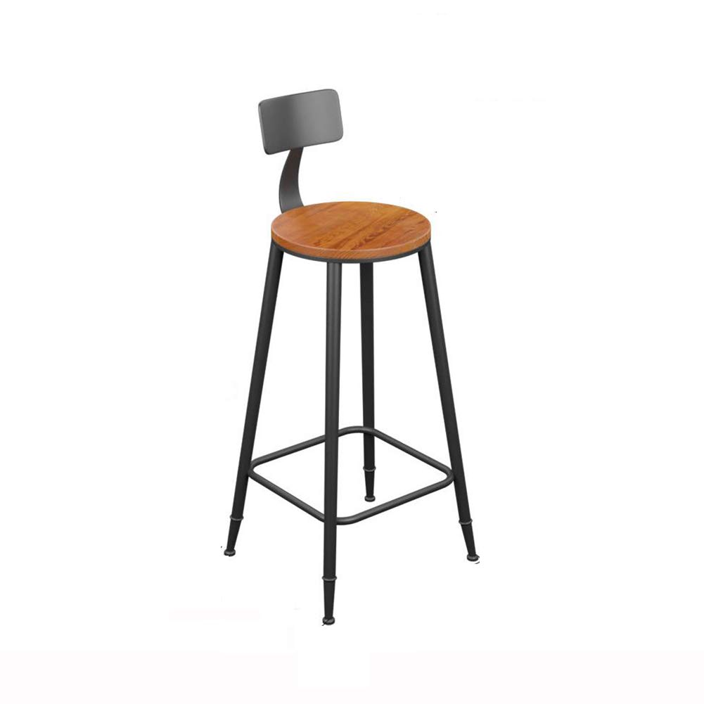 With backrest 68CM QIDI Bar Stool Counter Chairs Wood Bar Stool Footrest Metal Frame Nice Seat Cushion for Breakfast Kitchen Bar Cafe (color   with Cushion, Size   68CM)