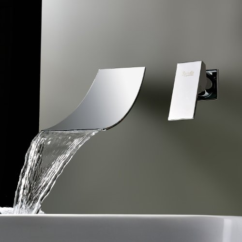 outlet Lightinthebox Solid Brass Widespread Waterfall Bathroom Bath Tub Faucet Chrome Waterfall Bath Shower Faucets Vessel Sink Plumbing Fixtures Shower Mixer Taps Ceramic Valve Stainless Steel Spout (Wall Mount)