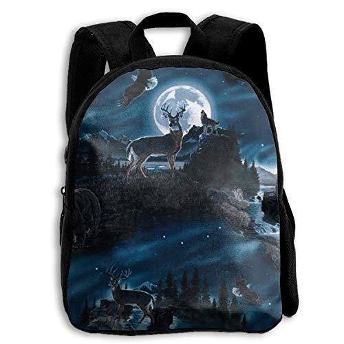 Night Wolf Deer Hawk Preschool Backpack,for Boys and Girls Little Kid - Girls For Backpack Hawk