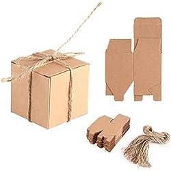 Envase de la caja de la decoración del papel de Kraft, caja del papel de Kraft de 50PCS Brown con la caja del jabón del papel de la cuerda del cáñamo Cuadrados de la boda del regalo del caramelo
