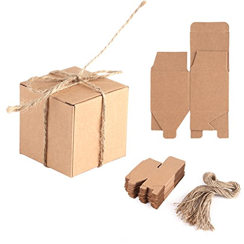 Delaman 50pcs Kraft Paper Candy Box Square Rustic Wedding Favors Candy Holder Bags Wedding Party Gift Boxes with Hemp Ropes