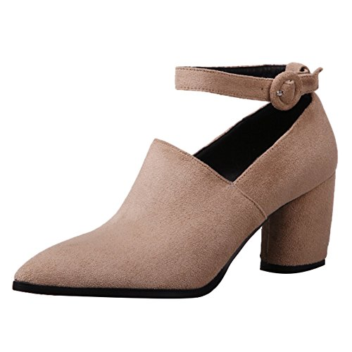 Latasa Womens Ankle-strap Pointed-toe Chunky Heel Pumps Beige IGo4Ihv2