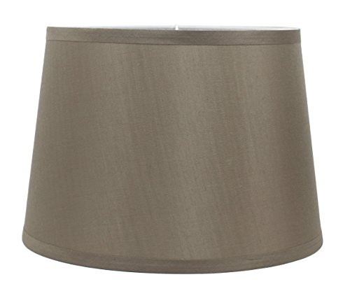 Urbanest French Drum Lampshade, Faux Silk, 12-inch by 14-inch by 10-inch, Taupe, Spider Washer Fitter