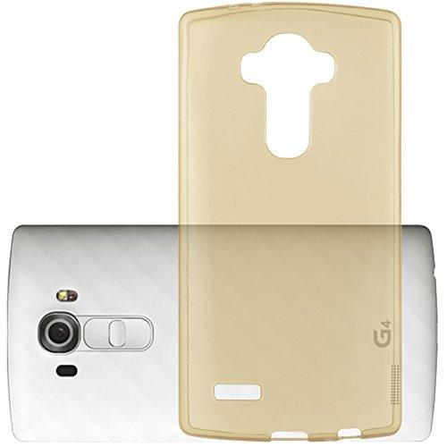Cadorabo - LG G4 Cubierta protectora de silicona TPU en diseño AIR - Case Cover Funda Carcasa Protección en TRANSPARENTE-LILA TRANSPARENTE-ORO