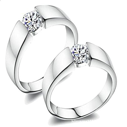 [Daesar Silver Plated Engagement Rings Womens Cubic Zirconia Princess Rings for Women 4mm Size:12] (Gold Antler Crown)