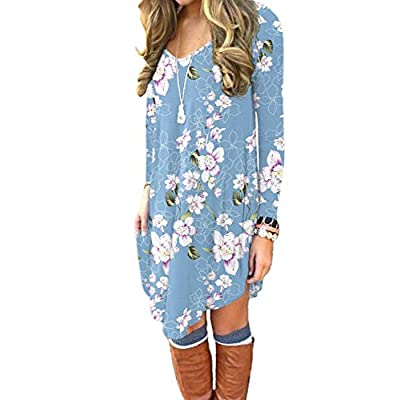 DEARCASE Women's Long Sleeve Casual Loose T-Shirt Dress at Women's Clothing store
