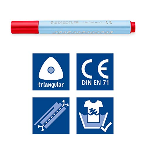 Staedtler 328 – Classpack 144 Triangular Felt-Tip Pens 1 mm Assorted Colours by STAEDTLER (Image #4)