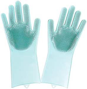 1Pair Magic Silicone Rubbe Dish Washing Gloves Eco-Friendly Scrubber Cleaning For Multipurpose Kitchen Bed Bathroom