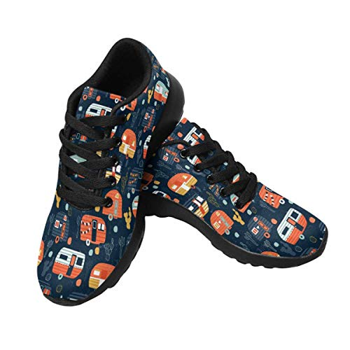 INTERESTPRINT Women's Sport Sneaker Flats Camper Caravan Print Pattern 9 B(M) US