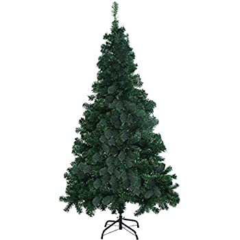 goplus 7 artificial christmas tree spruce hinged wmetal stand for indoor and outdoor - Amazon Artificial Christmas Trees