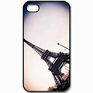 Protective Case Back Cover For iPhone 4 4S Case Wallpaper Paris Tower Eiffel France Black