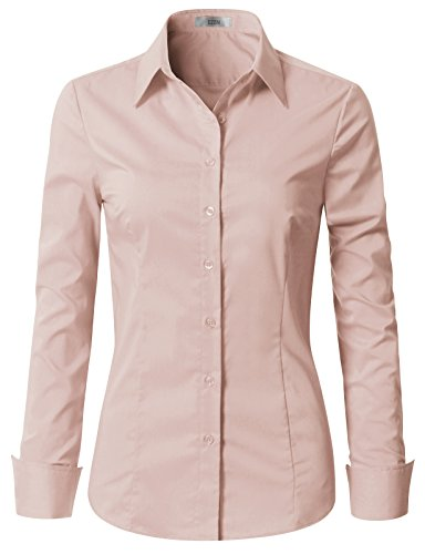 EZEN Womens Long Sleeve Button Down Cotton Shirts Light Pink Medium
