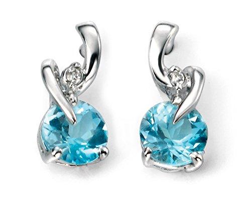 Boucles d'oreilles topaze bleu et diamant or blanc 9carats