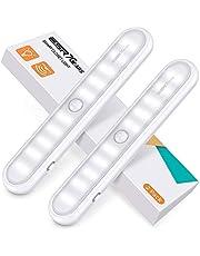 ESR7Gears Lampe à Armoire, Lampe de Placard à 20-LED, Alimentation-Batterie, 3 Modes et Attachement Magnétique, Lumière-Détecteur de motion Portable, à Cuisine, Escalier, Couloir, et Urgences, 2X