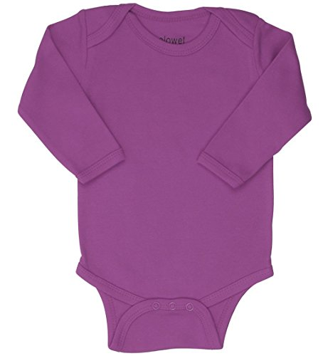 Elowel Long Sleeve Baby Bodysuit 100% Cotton Dark Purple(Size6-12M)