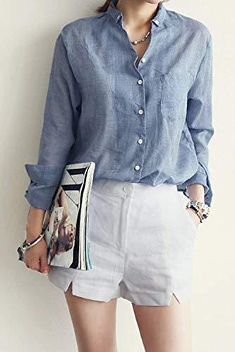 Haut Vintage Bouffant Uni Printemps breal Manches Blouse Longues Simple Tops Lin Bleu Manche Femme Dame Chemisiers Jeune Chemise Boutonnage Elgante Mode Automne Loisir 7TRwZ8x