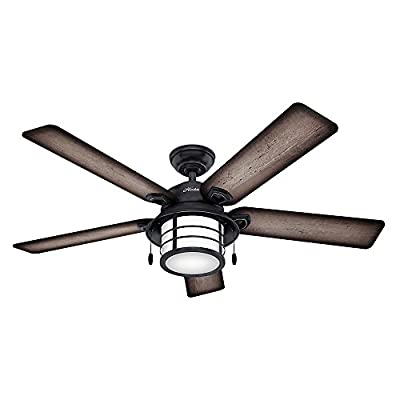 Hunter Indoor/Outdoor Ceiling Fan with Light and Pull Chain Control - Key Biscayne 54 inch, Weatherd Zinc, 59135
