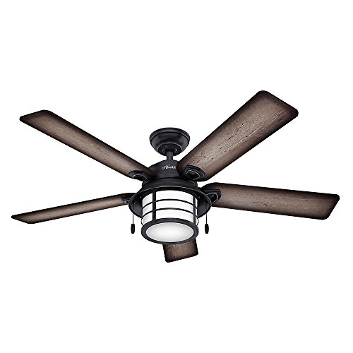 Hunter Indoor Outdoor Ceiling Fan with Light and Pull Chain Control – Key Biscayne 54 inch, Weatherd Zinc, 59135