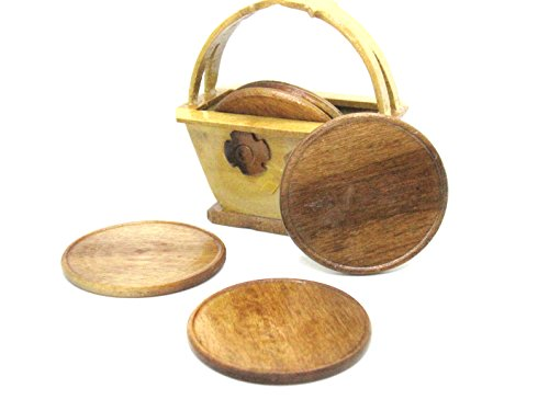 6 pcs Wooden Saucers Handmade with Container Alexa Swivel Chair