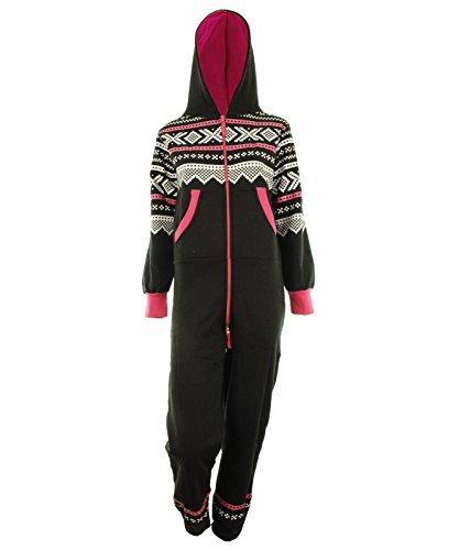 GG Womens Lusia Aztec Print Unisex Ladies Jumpsuit Onesie - Black ML 8-10
