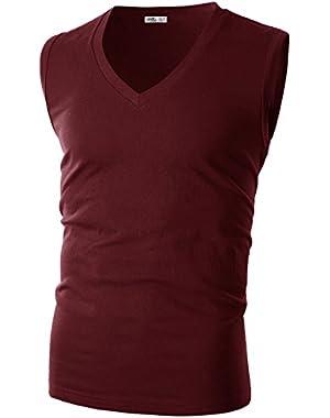 Mens Slim Fit V Neck Sleeveless T-Shirt Multicoloured