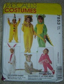 McCall's Costumes Halloween Babes 7853 (Clown, Ballerina,Santa, Lion, Mouse, Tiger, Bunny & Dragon) Infants/Toddler Sz. 4 for $<!--$4.91-->