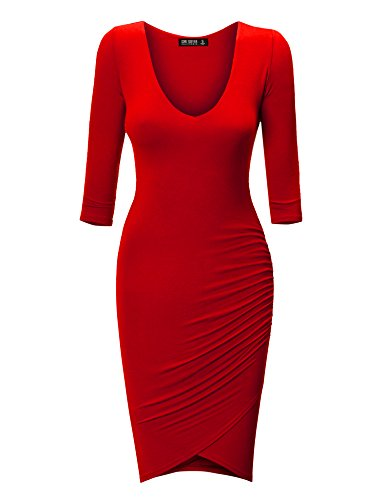 Come Together California CTC Womens Deep V Neck 3/4 Sleeve Tulip Bodycon Dress L ()