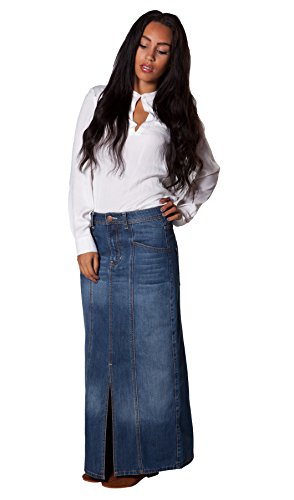 USKEES Carole Denim Skirt - Mid Denim Blue Full Length Maxi Skirt Sizes 10 to 22 (Long Denim Skirt Size 8)