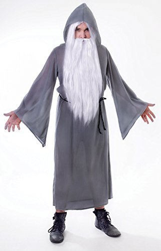 Unisex Wizard Cloak Grey Costume for Magician Merlin Fancy Dress Outfit Adult by Partypackage Ltd (Fancy Dress Magician)